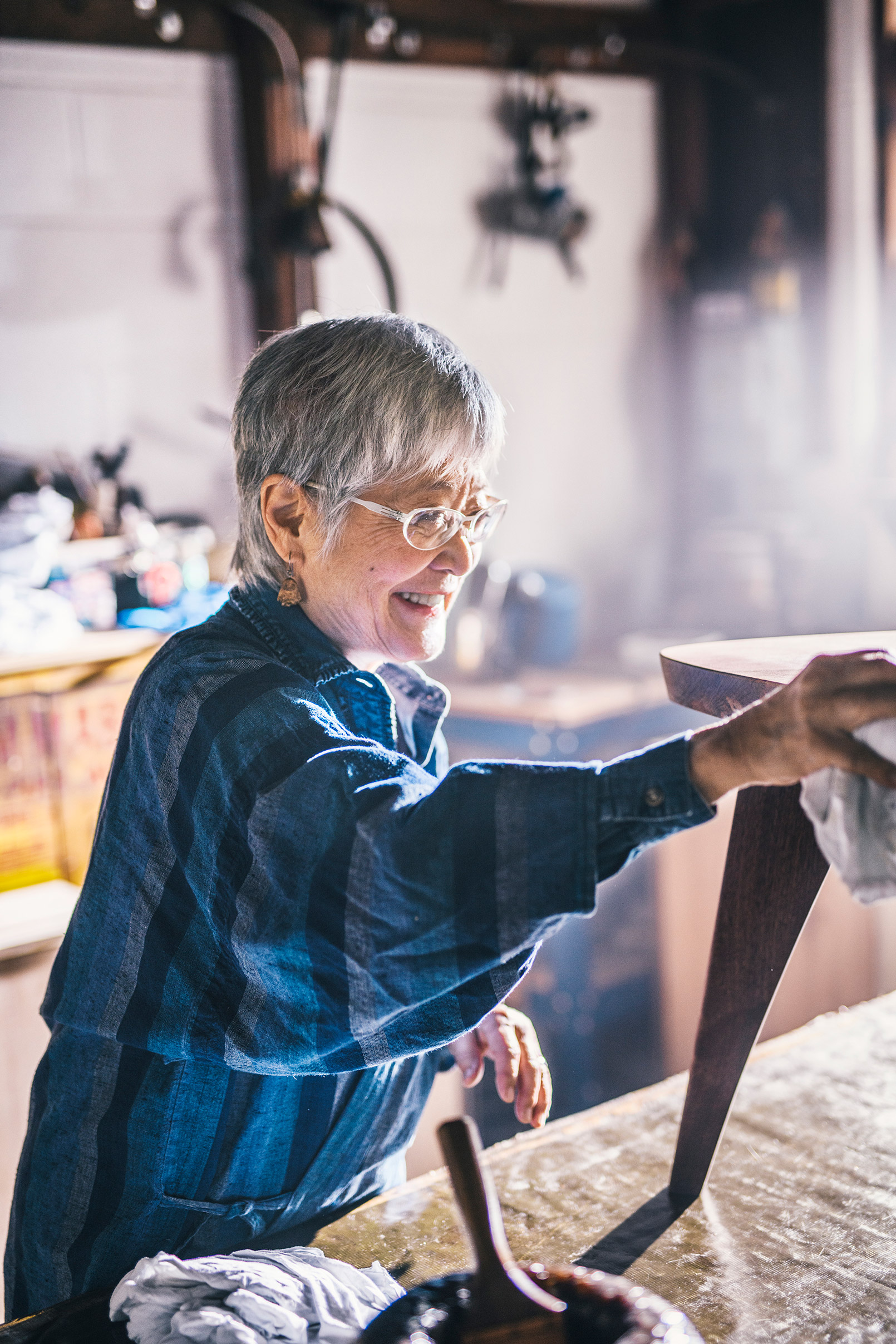 Mira, a retiree and woodworker